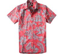 Herren Hemd Modern Fit Popeline rot-grau gemustert