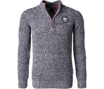 Pullover Troyer Baumwolle navy meliert