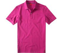 Herren Polo-Shirt, Body Fit, Baumwoll-Piqué, fuchsia rosa