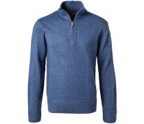 Herren Pullover Troyer, Wolle, blau meliert