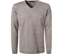 Pullover, Modern Fit, Wolle-Alpaka, grau meliert