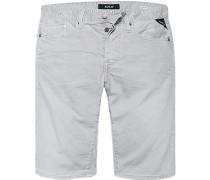 Herren Jeansshorts Regular Slim Fit Baumwoll-Stretch 9,5oz steingrau