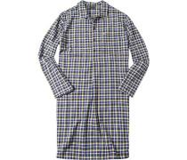 Herren Nachthemd Baumwolle gelb-navy kariert blau,gelb