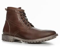Herren Schuhe Schnürstiefeletten Glattleder naturbraun