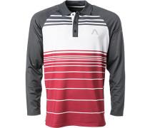 Herren Polo-Shirt DRYcomfort® grau-rot gestreift
