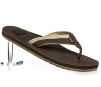 Herren Schuhe Zehensandalen Leder-Textil dunkelbraun