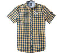 Herren Hemd, Baumwolle, blau-gelb kariert