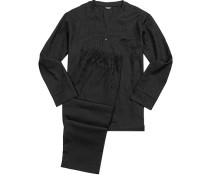 Herren Schlafanzug Pyjama Baumwolle schwarz gemustert