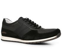 Herren Schuhe Sneaker Velours-Glattleder schwarz