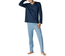 Schlafanzug Pyjama Baumwolle indigo