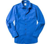 Herren Hemd Modern Fit Baumwolle royalblau