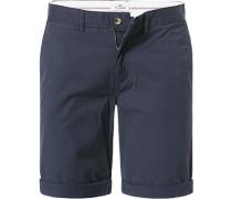 Herren Hose Bermudashorts Slim Fit Baumwolle navy blau