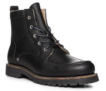 Herren Schuhe Schnürboots, Leder warm gefüttert, schwarz