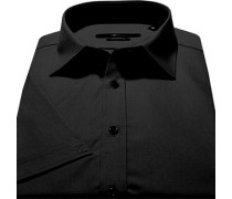 Herren Hemd, Stretch-Popeline, schwarz