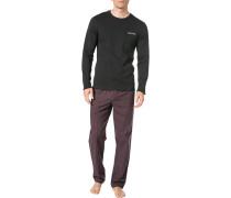 Herren Schlafanzug Pyjama, Baumwolle, schwarz-rot kariert