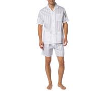 Herren Schlafanzug Pyjama, Baumwolle, weiß