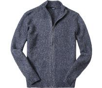Herren Zip-Cardigan Wolle-Alpaka dunkelblau meliert