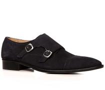 Herren Schuhe Doppelmonkstraps Veloursleder nachtblau