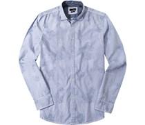 Herren Hemd Slim Fit Popeline blau-weiß gestreift blau,weiß