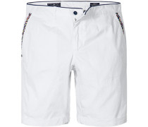 Herren Hose Shorts Regular Fit Baumwoll-Stretch weiß