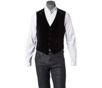 Herren Anzug Samt-Weste Baumwolle schwarz