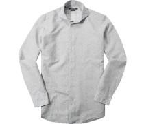 Herren Hemd Shaped Fit Strukturgewebe blau-weiß gemustert