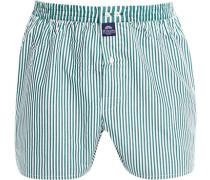 Herren Unterwäsche Boxershorts, Baumwolle, grün-weiß gestreift