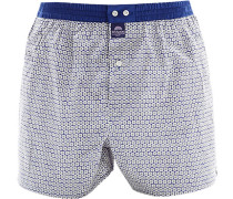 Herren Unterwäsche Boxershorts Baumwolle blau-hellgrau gemustert