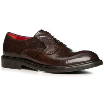 Herren Schuhe Derby Büffelleder gebrusht testa di moro braun,rot