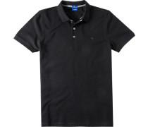 Herren Polo-Shirt Slim Fit Strukturgewebe schwarz meliert