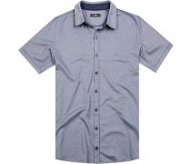 Herren Hemd Jersey blau meliert