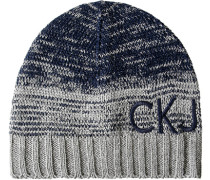 Herren Mütze Wolle grau-blau
