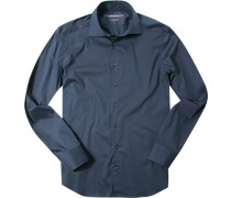 Herren Hemd Shaped Fit Popeline navy blau