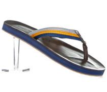 Herren Schuhe Zehensandalen, Leder-Textil, gelb-blau