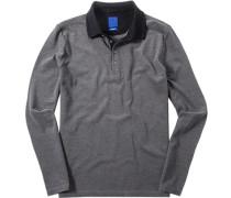 Herren Polo-Shirt Modern Fit Baumwoll-Piqué schwarz melerit blau