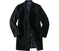 Herren Mantel, Wolle, schwarz