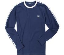Herren T-Shirt Longsleeve Baumwolle marineblau