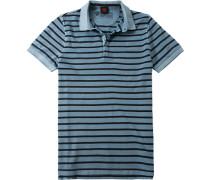 Herren Polo-Shirt, Baumwoll-Piqué, eisblau gestreift