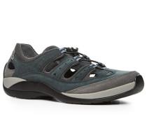 Herren Schuhe Sandalen, Leder-Microfaser, cognac-braun blau