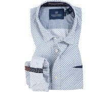 Herren Hemd, Regular Fit, Popeline, weiß gemustert