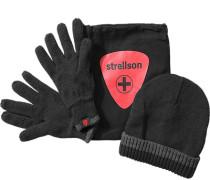 Herren strellson Sportswear Set Mütze + Handschuhe Woll-Mix schwarz-grau