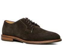 Herren Schuhe Derby Veloursleder dunkelbraun