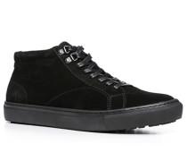 Herren Schuhe Sneaker Kalbvelours schwarz schwarz,blau