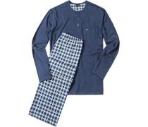 Herren Schlafanzug Pyjama Baumwolle dunkelblau kariert