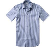 Herren Hemd Regular Fit Strukturgewebe blau-grün gestreift