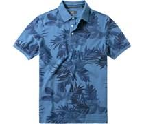 Herren Polo-Shirt Baumwoll-Piqué indigo gemustert blau
