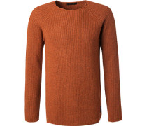 Herren Pullover, Wolle-Kaschmir, orange meliert