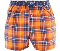 Herren Unterwäsche Boxershorts Baumwolle orange-blau kariert