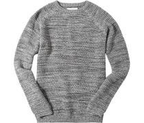 Herren Pullover Baumwolle -weiß meliert