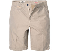 Herren Hose Shorts Regular Fit Baumwolle grau- gestreift
